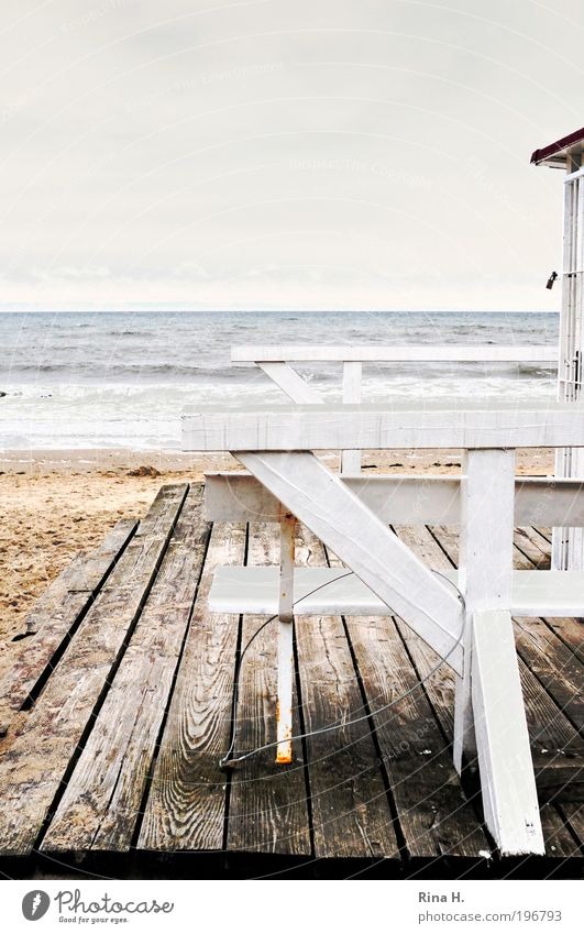 Saisonende II Natur Wasser Himmel Meer Freude Strand Ferien & Urlaub & Reisen Einsamkeit Erholung Herbst Gefühle Traurigkeit Landschaft Zufriedenheit Stimmung Wind