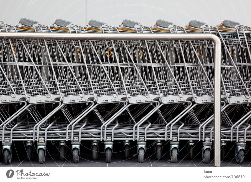 Parkplatz Ernährung Wirtschaft Handel Güterverkehr & Logistik Feierabend Technik & Technologie Container Metall Stahl verkaufen warten eckig modern gelb silber