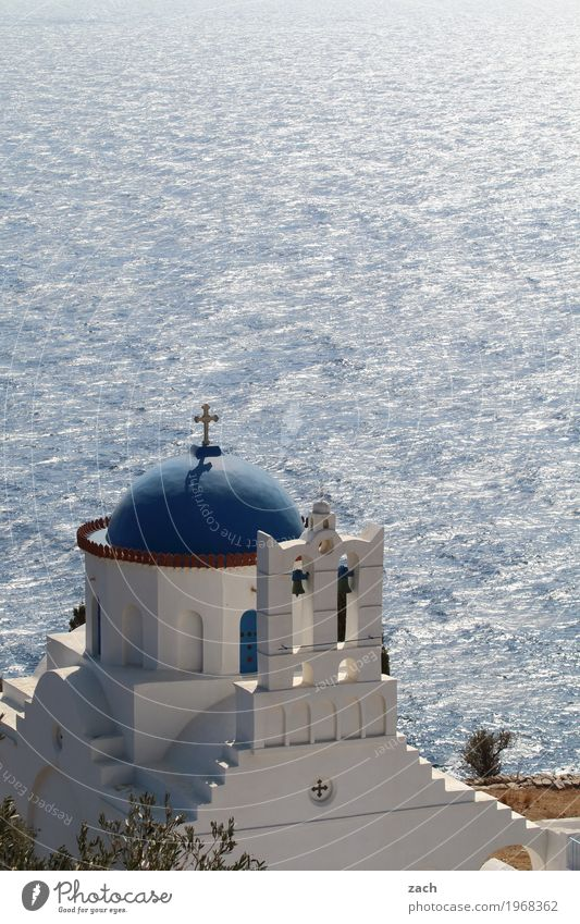 Licht und Wasser Ferien & Urlaub & Reisen Himmel Wolken Schönes Wetter Meer Mittelmeer Ägäis Insel Serifos Griechenland Kykladen Dorf Altstadt Religion & Glaube
