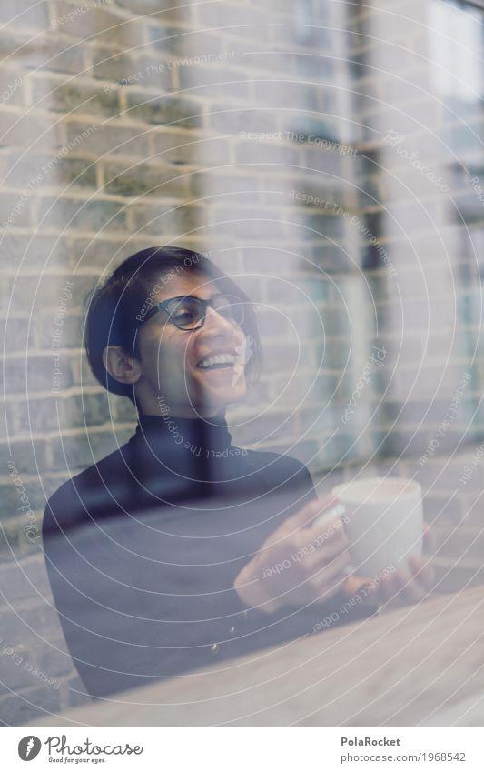#A# coffee with fun 1 Mensch Freude Café Scheibe Fensterscheibe Frau Kaffee Kaffeetrinken Kaffeetasse Kaffeepause Kaffeebecher Lächeln lachen festhalten