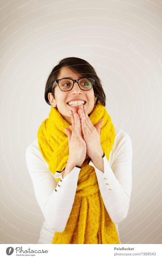 #A# Vorfreude 1 Mensch ästhetisch Freude lachen strahlend weiße Zähne Frau Fröhlichkeit Freundlichkeit Schal gelb Mode Winter Brille Hand Blick Farbfoto