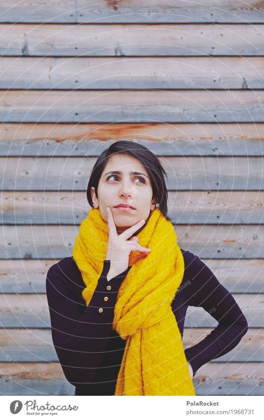#A# some thinking Kunst Kunstwerk ästhetisch Frau Blick Denken Mode Model Karriere Pullover Schal gelb Holzwand nachdenklich Kreativität Zukunft Zukunftsangst