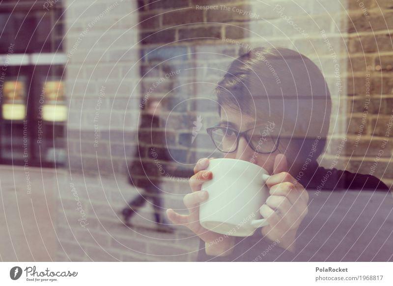 #A# coffee to go Frau Erholung sprechen feminin modern Glas ästhetisch genießen beobachten Brille Pause Kaffee Show Café Fensterscheibe Scheibe
