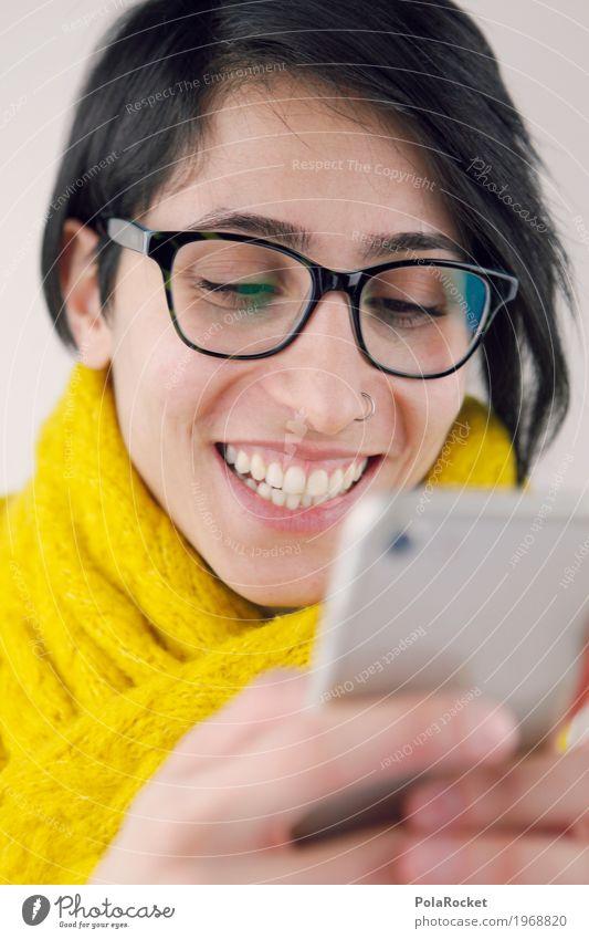 #A# hach ist das ne tolle flatrate Frau Junge Frau Gefühle lachen Kommunizieren Fröhlichkeit Lächeln kaufen Nase Brille Freundlichkeit lesen festhalten Internet