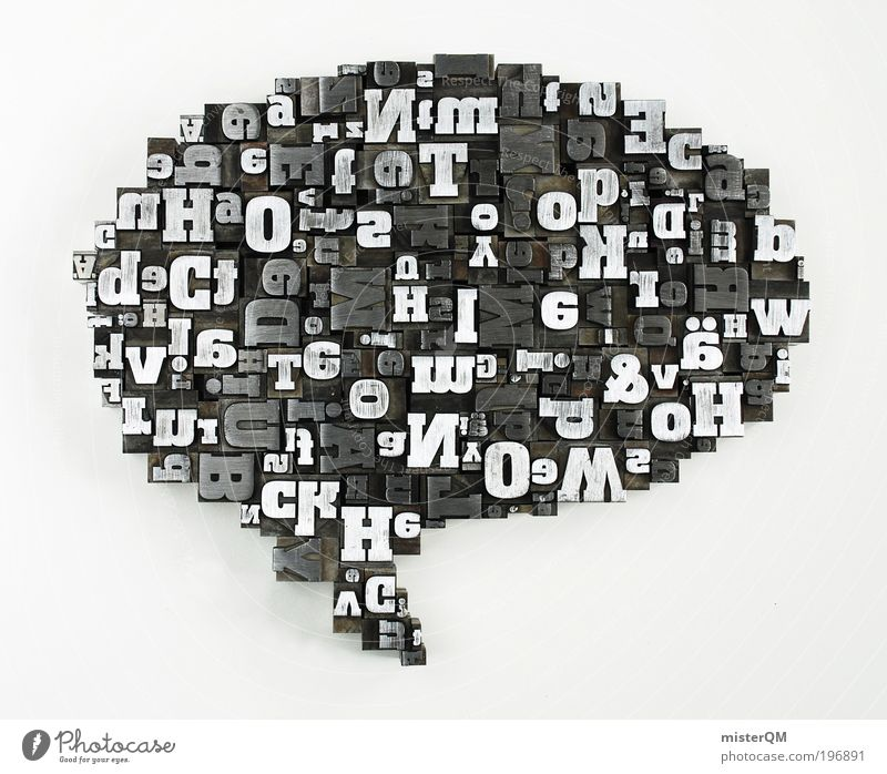 Kommunikation 2.0 Kunst Design Kommunizieren Sprechblase Wort Sprache Buchstaben Kennwort viele chaotisch Antwort Fragen modern Zukunft Eyecatcher Fremdsprache