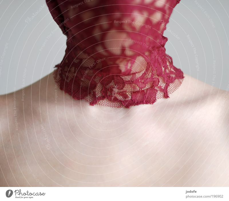halskrause feminin Junge Frau Jugendliche 1 Mensch 18-30 Jahre Erwachsene Stoff ästhetisch schön rot Spitze Schulter Haut Hals verpackt anonym unkenntlich ruhig