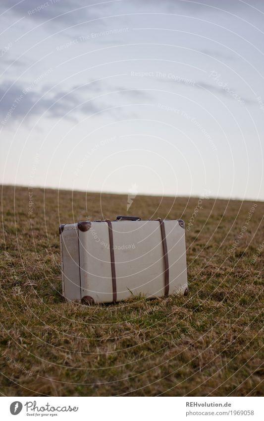 Koffer Ferien & Urlaub & Reisen Ausflug Umwelt Natur Landschaft Himmel Wolken Wiese stehen alt retro Einsamkeit Abenteuer Gepäck unterwegs Farbfoto