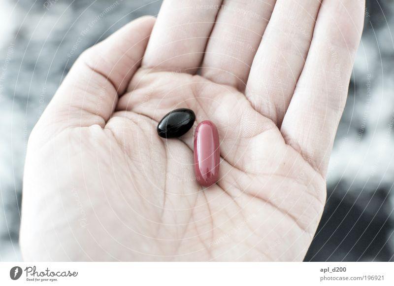 Schwarz oder Rot? Lebensmittel Ernährung Mensch maskulin Hand 1 liegen ästhetisch authentisch rot schwarz Freude Glück vernünftig Tablette Krank Wahlen