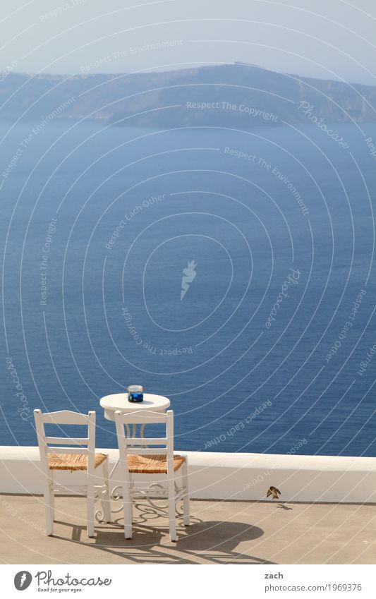 Sitzgelegenheit Ferien & Urlaub & Reisen Natur Wasser Wolkenloser Himmel Schönes Wetter Meer Mittelmeer Ägäis Insel Kykladen Santorin Caldera Oia Griechenland