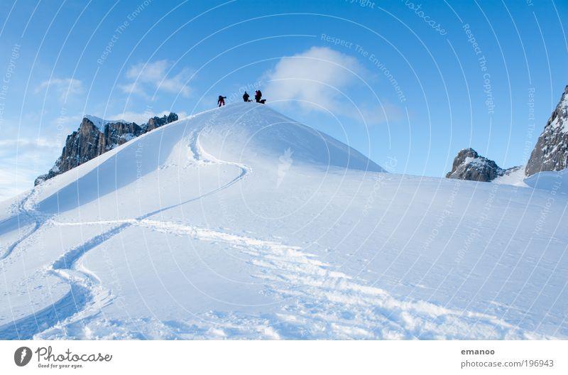 freeride gipfel Mensch Natur Ferien & Urlaub & Reisen Landschaft Wolken Winter Berge u. Gebirge Schnee Sport Freiheit oben Felsen Freizeit & Hobby wandern hoch