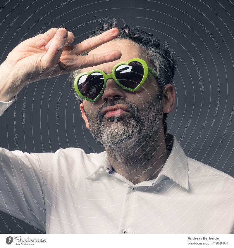 Portrait Stil Sommer Mensch maskulin Mann Erwachsene 1 45-60 Jahre Tanzen Coolness retro verrückt caucasian communication glasses guy handsome happy man heart
