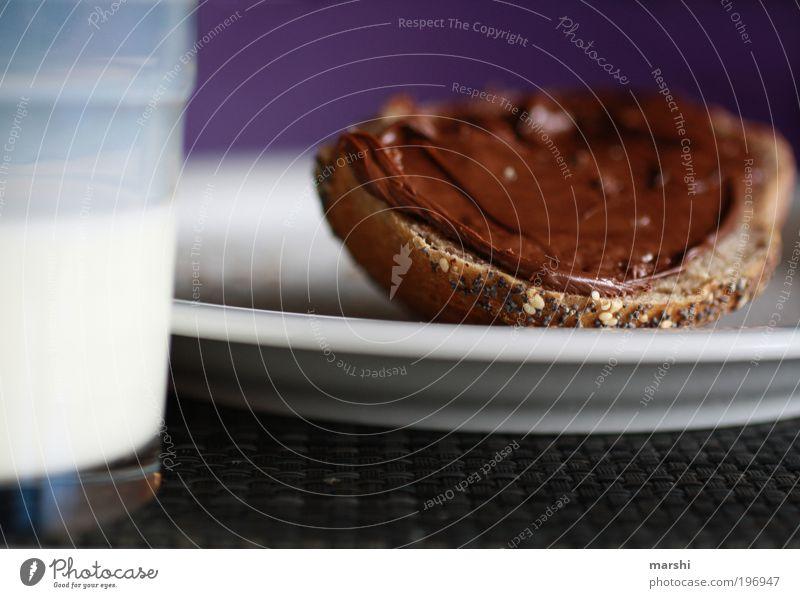 love it! Lebensmittel Brot Ernährung Frühstück Getränk trinken Milch Geschirr Teller Glas lecker geschmackvoll Geschmackssinn Appetit & Hunger genießen Gefühle