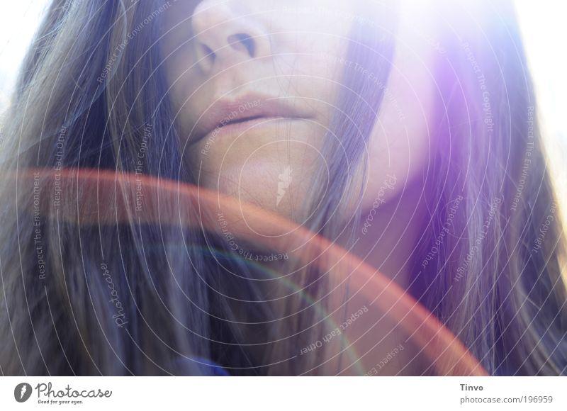over the rainbow Frau Mensch Erwachsene Gesicht feminin Haare & Frisuren Traurigkeit Mund natürlich außergewöhnlich einzigartig weich Wunsch Lippen Sehnsucht