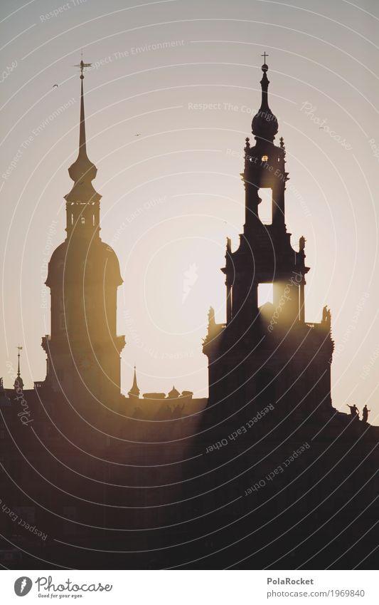 #A# Dresden shining Architektur Kunst ästhetisch Turm Sehenswürdigkeit Burg oder Schloss Sachsen Lichtspiel Lichtstrahl Barock Elbufer Hofkirche Dresden