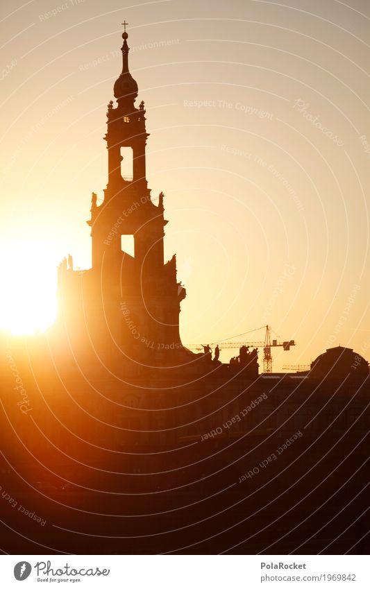#A# Hofkirche Dresden Sonne Architektur Kunst ästhetisch Idylle Romantik Turm Gemälde Altstadt Sachsen Kunstwerk