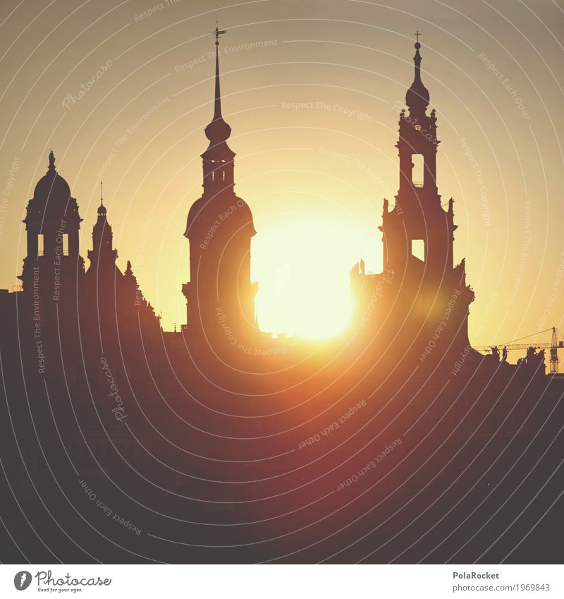 #A# Freitag in Dresden Sommer ästhetisch Sachsen Altstadt Hofkirche Dresden Silhouette Sonne Sonnenuntergang Turm Himmel Idylle friedlich Brühlsche Terrasse