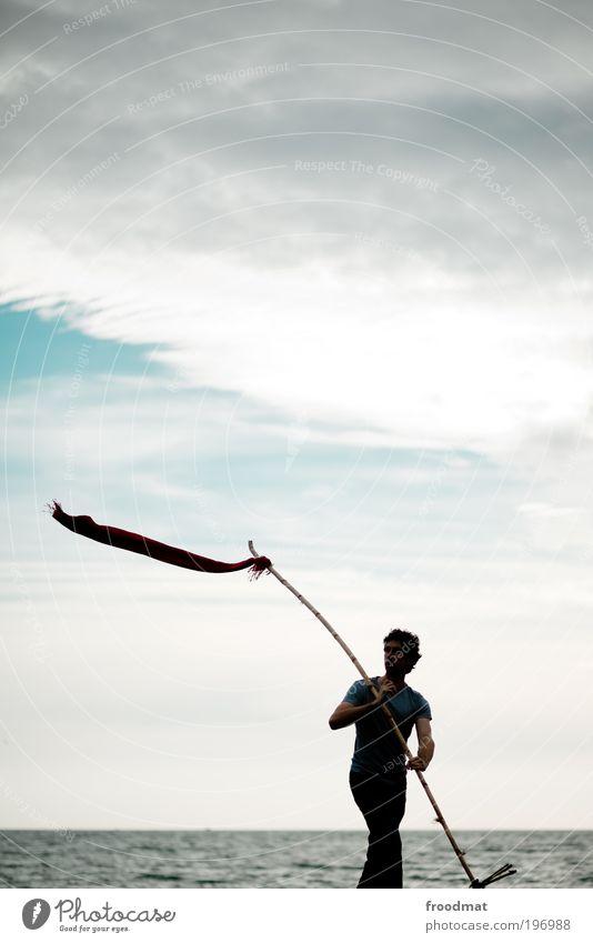 flaggschiff Mensch Mann Jugendliche Wasser Meer Erwachsene Erholung Freiheit Bewegung Kraft maskulin Tourismus Erfolg Wandel & Veränderung Coolness Fahne