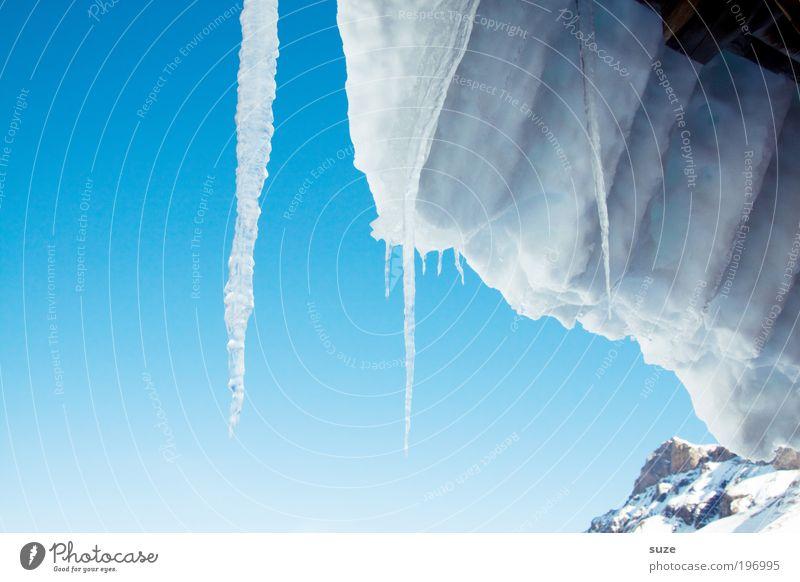 Eiszapfen Umwelt Urelemente Wasser Himmel Wolkenloser Himmel Winter Klima Schönes Wetter Frost Schnee Alpen Berge u. Gebirge Gipfel Dach authentisch eckig