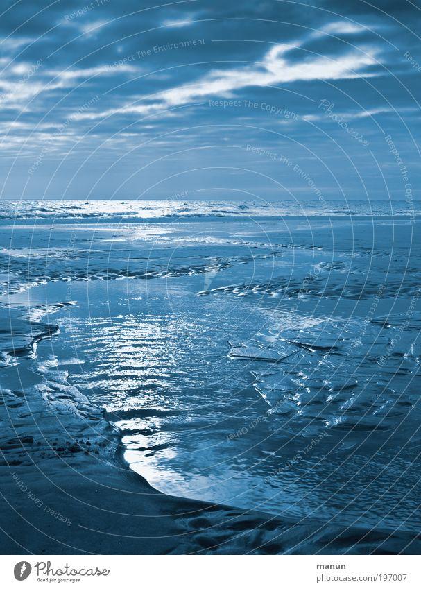 blaue Stunde am Watt Erholung ruhig Kur Ferien & Urlaub & Reisen Tourismus Umwelt Natur Landschaft Urelemente Sand Wolken Horizont Klima Küste Strand Nordsee