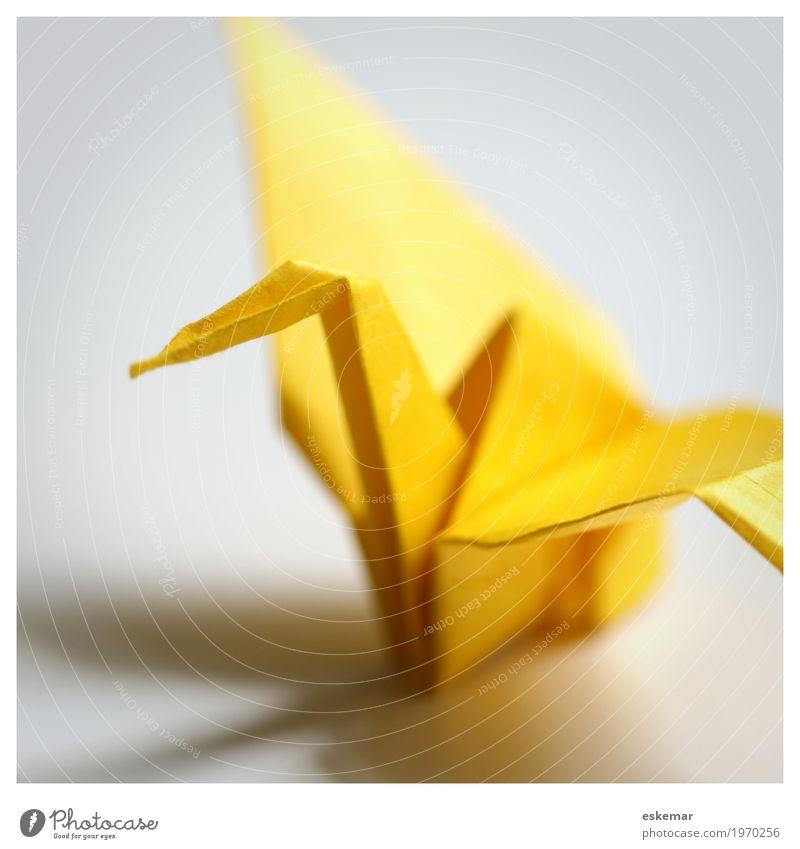 Origami Kranich Freizeit & Hobby Spielen Basteln Handarbeit Vogel 1 Tier Papier ästhetisch elegant Freundlichkeit Fröhlichkeit positiv gelb weiß Frieden