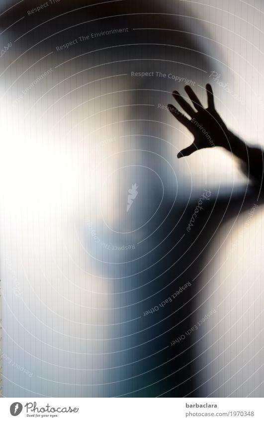 Dank Photocase das hier: feminin Frau Erwachsene Hand 1 Mensch Fenster Tür Regenschirm Glas stehen dunkel gruselig hell Gefühle Stimmung Schutz Kontakt skurril