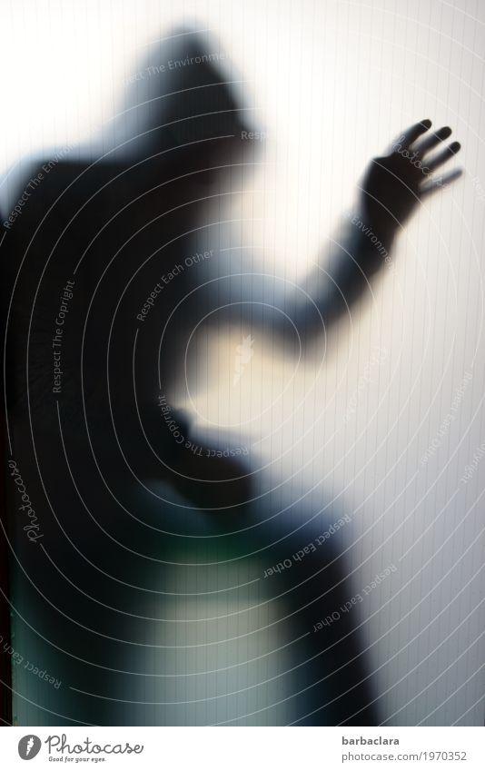 Risiko | der Einbrecher Mensch maskulin 1 Fenster Tür Bekleidung Pullover Kapuze Glas Bewegung dunkel gruselig Gefühle Stimmung Angst gefährlich Schutz
