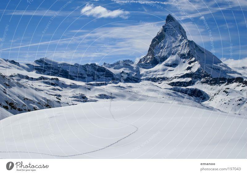zum Matter Horn Himmel Natur Ferien & Urlaub & Reisen Landschaft Winter Berge u. Gebirge kalt Schnee Sport Freiheit ästhetisch hoch Gipfel Alpen Schweiz
