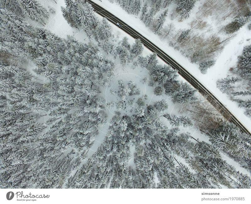 Luftaufnahme Straße Auto Winterwald Ferien & Urlaub & Reisen Tourismus Berge u. Gebirge Landschaft Wetter Wald Dorf Wege & Pfade PKW Ziel Drohnenfoto bahn