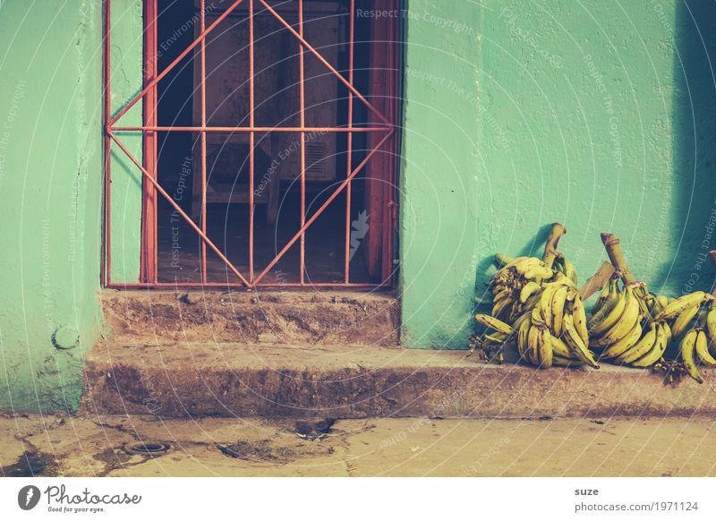 Es gibt sogar Bananen. Frucht Häusliches Leben Haus Kultur Wärme Stadtrand Altstadt Fassade Tür Wachstum Armut Billig grün Gastfreundschaft Gelassenheit Verfall