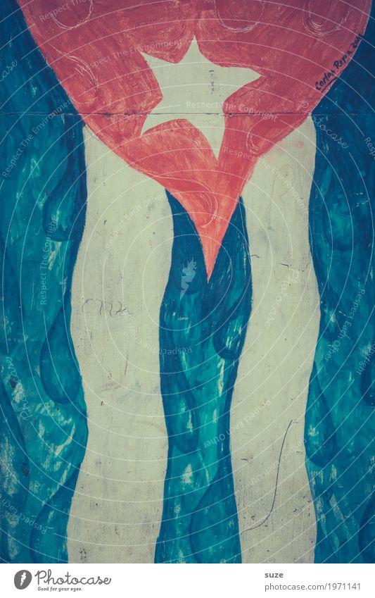Flagge zeigen blau rot Wand Graffiti Kunst Kultur Armut Vergänglichkeit Stern (Symbol) Wandel & Veränderung Vergangenheit Verfall Zeichnung Straßenkunst Stolz