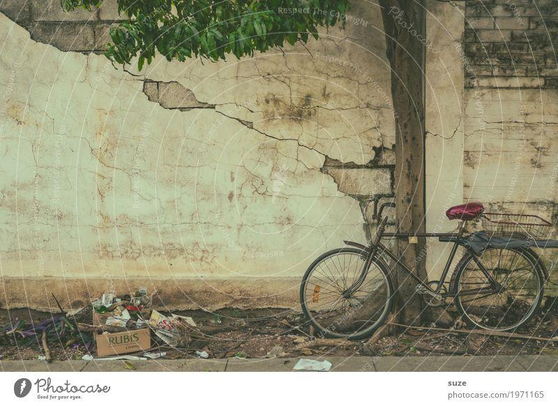 Rad der Zeit alt Stadt Baum Wand Fassade retro Fahrrad dreckig Kultur Armut Vergänglichkeit kaputt niedlich Fußweg Wandel & Veränderung