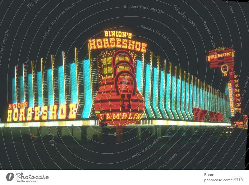 Las Vegas Spielkasino Leuchtreklame Nachtaufnahme Stadtlicht