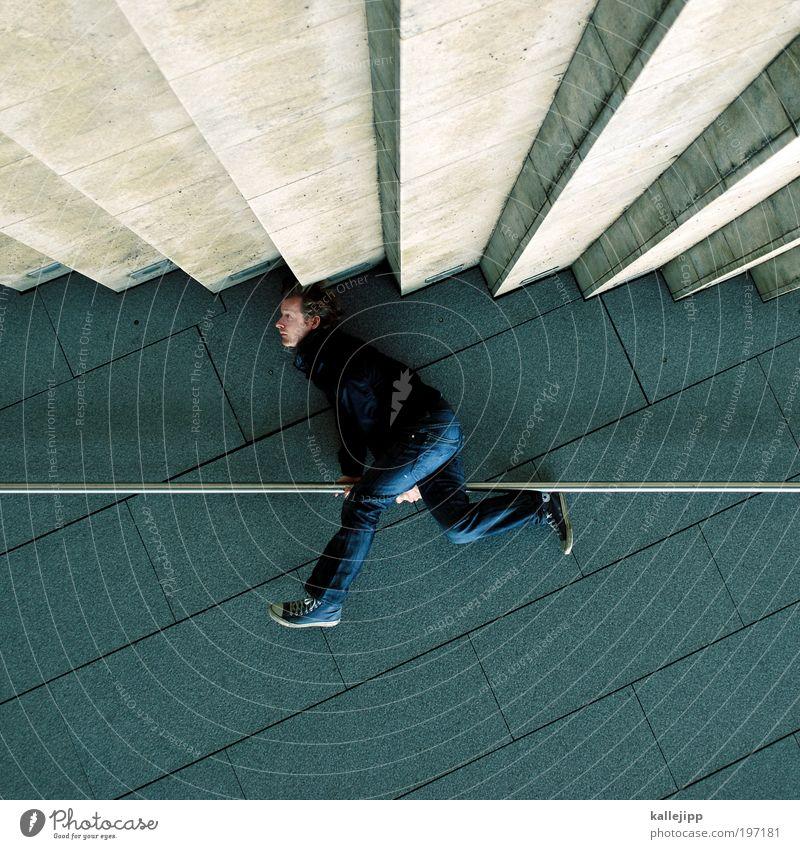 i walk the line Lifestyle Mensch maskulin Mann Erwachsene 1 30-45 Jahre Mauer Wand Treppe Hose Jacke Turnschuh hängen eckig Spitze Geländer verdreht Farbfoto