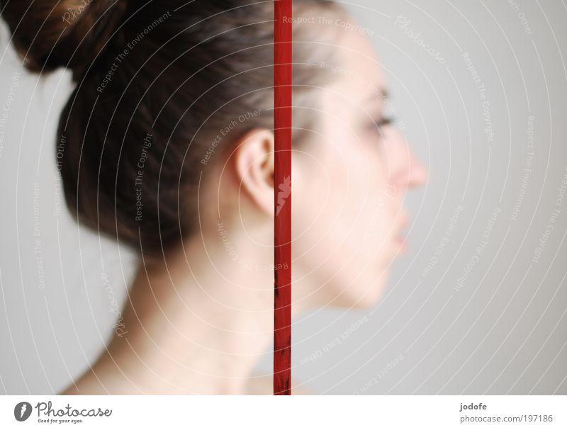 Strich Frau Mensch Jugendliche rot feminin Kopf Linie 2 Erwachsene Ohr Schnur Seite Trennung Ziffern & Zahlen Junge Frau Silhouette