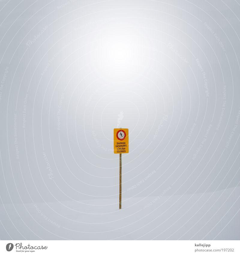 blindflug Ferien & Urlaub & Reisen Wolken Winter Berge u. Gebirge Schnee Nebel Schilder & Markierungen Hinweisschild bedrohlich Zeichen Skifahren Mitte