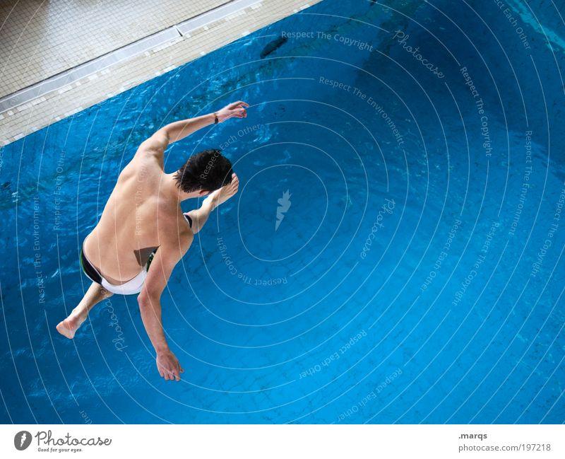 Wasserläufer Jugendliche Wasser Ferien & Urlaub & Reisen Sommer Freude Erwachsene Leben Sport Gefühle Bewegung springen Freizeit & Hobby Schwimmen & Baden fliegen laufen maskulin
