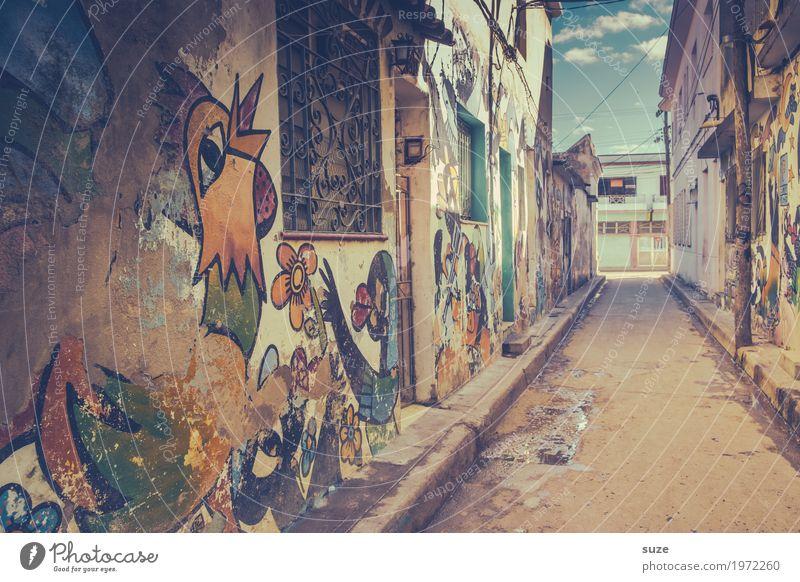 Schönwetterhahn alt Stadt Haus Wand Graffiti Kunst Zeit Fassade retro dreckig Kultur Fröhlichkeit Armut Vergänglichkeit niedlich Fußweg