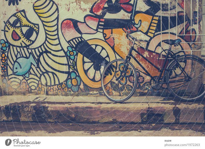 Radstand Katze Stadt Haus Graffiti Kunst Zeit Fassade retro Fahrrad Kultur Armut Vergänglichkeit niedlich Wandel & Veränderung Fußweg Vergangenheit