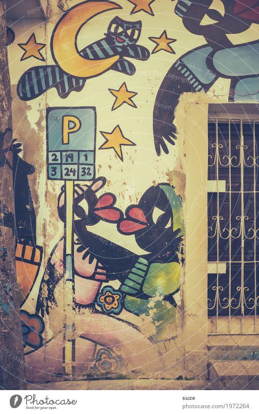 Weltoffen Katze alt Stadt Haus Fenster Graffiti Zeit Kunst Fassade retro dreckig Kultur Fröhlichkeit Armut Vergänglichkeit niedlich