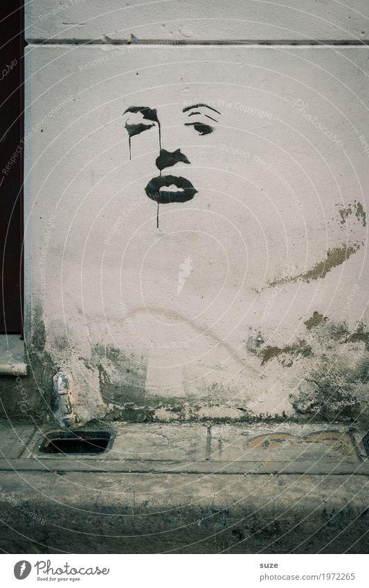 Karma, karma Freiheit Haus Kunst Kunstwerk Kultur Fassade Graffiti Traurigkeit ästhetisch authentisch dreckig rebellisch retro trist grau Politik & Staat