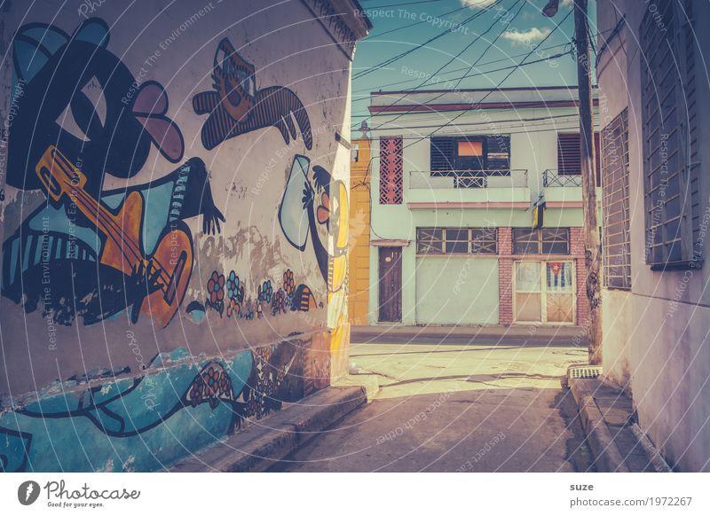 Camaguey Katze alt Stadt Haus Graffiti Kunst Zeit Fassade retro dreckig Kultur Armut niedlich Vergänglichkeit Fußweg Wandel & Veränderung