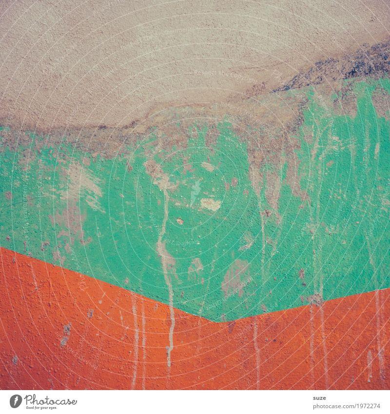 TT | Trash 2019 - Fast wie Neu! Stil Design Kunst Kunstwerk Mauer Wand Fassade Stein Zeichen Linie Streifen dreckig einfach frei kaputt orange türkis