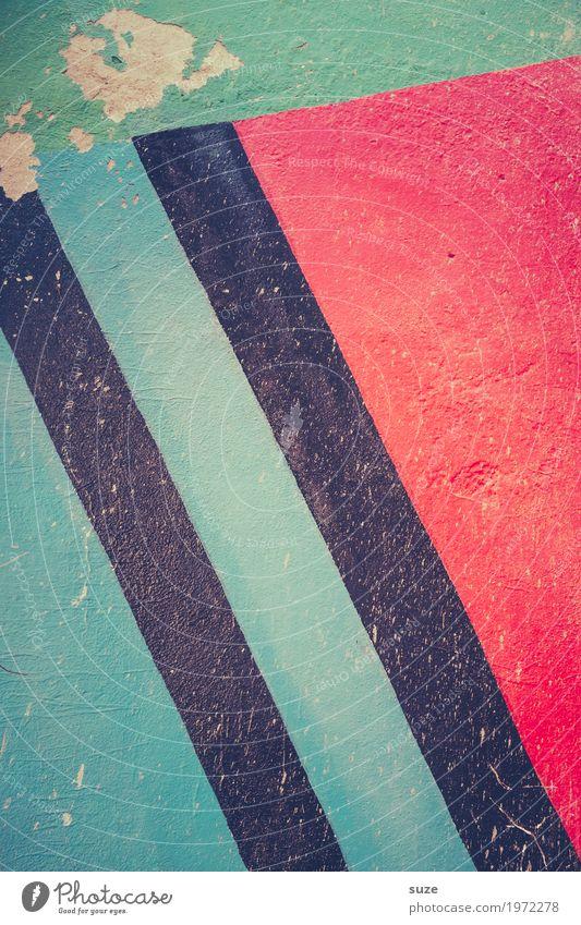 Istgleich Stil Design Dekoration & Verzierung Kunst Kunstwerk Mauer Wand Zeichen Graffiti Linie Streifen einfach frei kaputt modern rot türkis Inspiration
