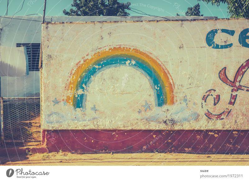 Schönwetterfront alt Wolken Graffiti Wand Zeit Kunst Mauer retro dreckig Kultur Fröhlichkeit Armut Vergänglichkeit Wandel & Veränderung Vergangenheit