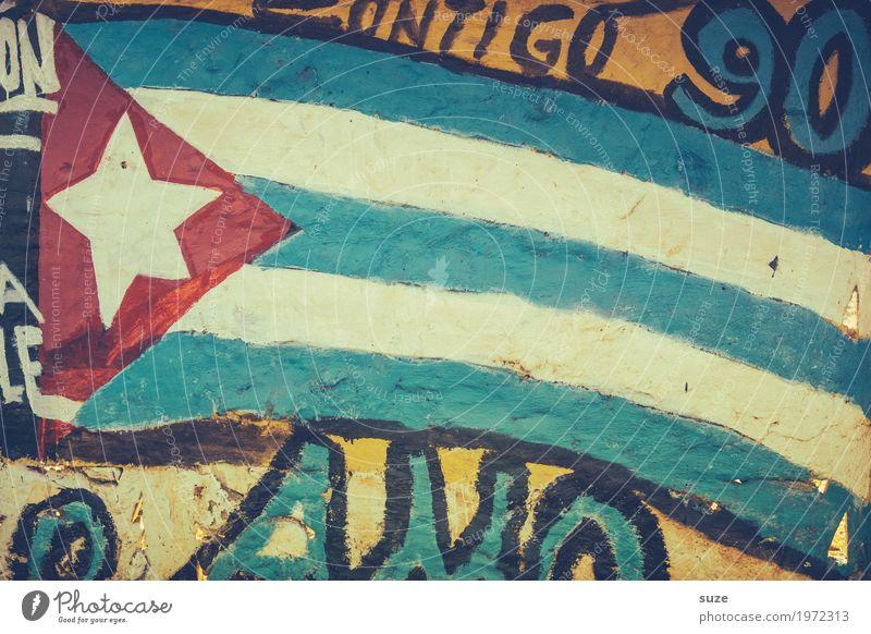 Fahntastisch blau rot Graffiti Wand Stil Kunst Mauer Freiheit Kultur Armut Vergänglichkeit Stern (Symbol) Wandel & Veränderung Vergangenheit Fahne Kuba