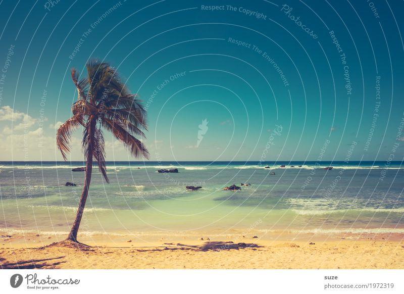 Strandleer exotisch Zufriedenheit ruhig Ferien & Urlaub & Reisen Tourismus Sommer Sommerurlaub Sonnenbad Meer Wellen Landschaft Sand Himmel Wind Wärme Felsen
