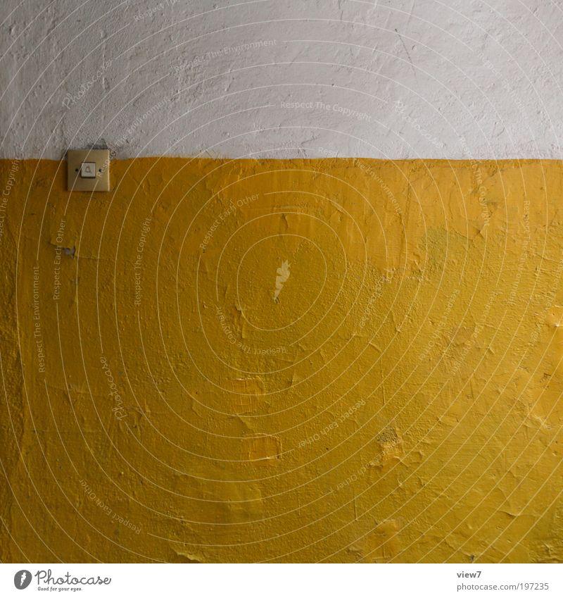 I gelb alt gelb Ferne dunkel Wand Stein Mauer Linie Raum dreckig Design Beton Fassade Perspektive Ordnung ästhetisch