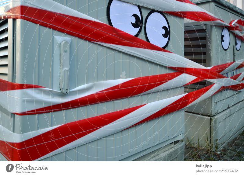 spannungen Auge 2 Mensch Interesse stromkasten Energie Spannung Konflikt & Streit Respekt Straßenkunst Barriere Zusammensein Misstrauen Gesicht Comic lustig