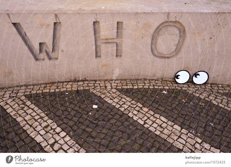 ? Auge Schriftzeichen Beton Fragen Straßenkunst Comic