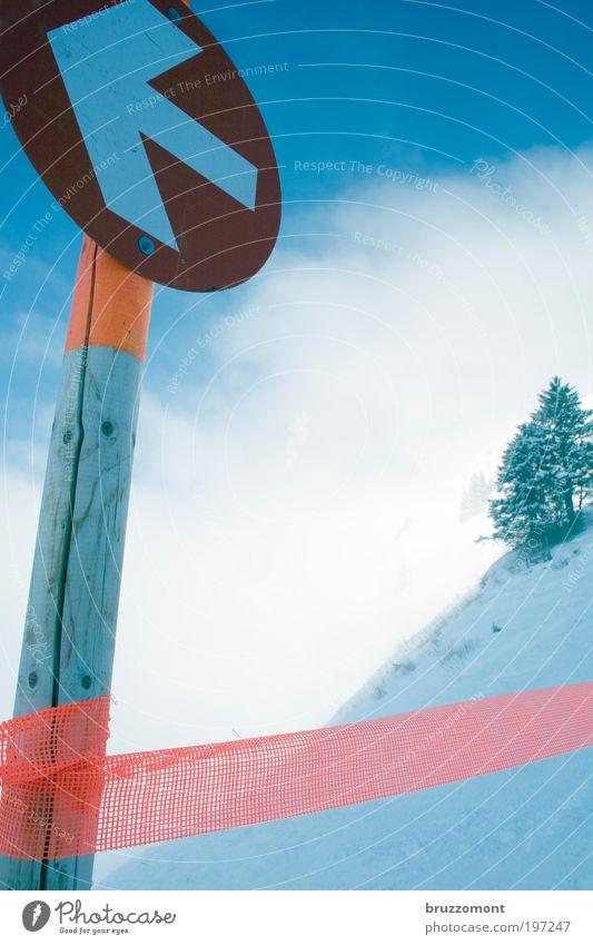 Wink mit dem Zaunpfahl Baum blau Winter Wolken Schnee Eis Orange Nebel Umwelt Schilder & Markierungen Skifahren Frost Pfeil Zeichen Hinweisschild Barriere